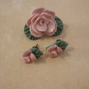 Pink Ceramic Flower Pin And Earring Set